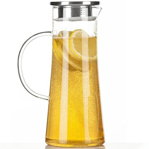 Dimono Wasserkrug Wasserkanne Krug 1,5 Liter, Glaskrug mit Filter und Deckel aus Edelstahl