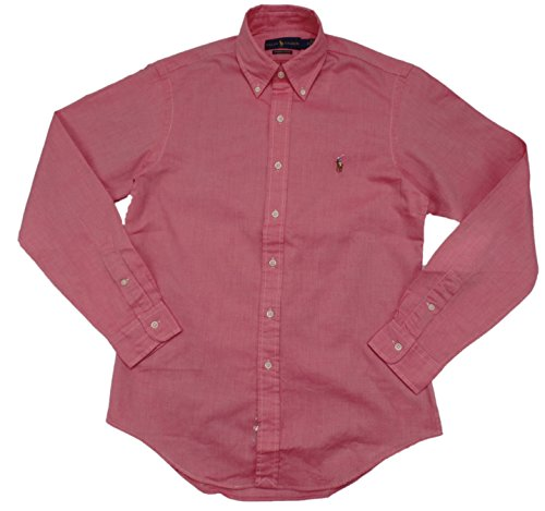 Ralph Lauren Men's Chambray Oxford Button-Down Shirt(L, SP Red/White)