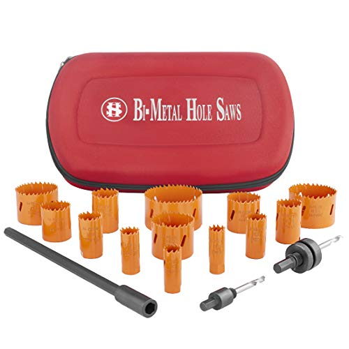 Bi-Metal Hole Saw Kit, 16-Piece 3/4 Inch To 3 Inch Heavy Duty Steel Corn Hole Drilling Cutter Set with Drill Bit Adapter & Extension for Cutting Wood, Plastic, Aluminum, Metal Stainless Steel by SILIV