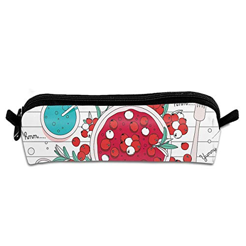 (FJSLIE Delicious Cranberries Oxford Storage Bags Portable Student Pencil Printing Office Stationery Bag Zipper Wallets Makeup Multi-Function Bag)