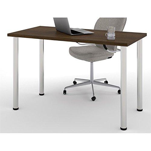 BER6585278 - Bestar 24 x 48 Table with round metal legs in Tuxedo by Bestar
