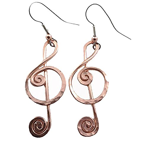 Elaments Design Solid Copper Music Note Earrings Treble Clef Design 1.8 Inch Dangle Hand Hammered ()