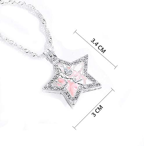 (Blingsoul Sterling Silver Necklace - Star Necklace Silver Chain Pink Fairy Jewelry Gifts for Women)