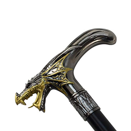Silver Metal Golden Winged Dragon Cane 2pc Steel Shaft Travel Walking Stick -