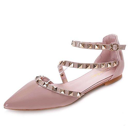 Aalardom Kvinna Pekade-tå Spänne No-häl Diverse Färglackläder Mjuk Material Flats-shoes Naken