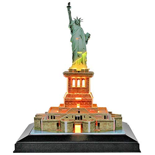 (CubicFun 3D NewYork Puzzles LED Cityline Building Craft Model Kits Toys for Adults, Statue of Liberty Lighting Up in Night)