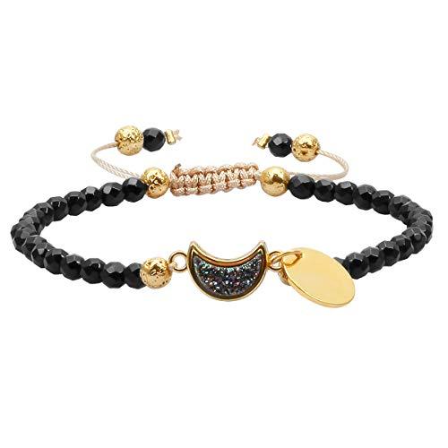 TUMBEELLUWA Beads Bracelets Faceted Stone 4mm Healing Crystal Bracelet Half Moon Shape Druzy Adjustable Handmade Jewelry for Women,Black Agate