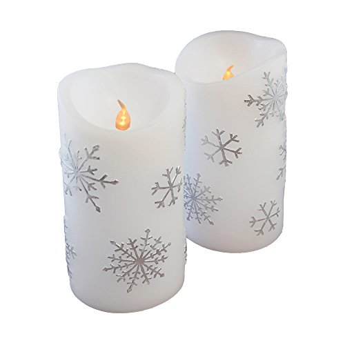 Lumabase 92102 2 Count Snowflake Battery Operated LED Candles, Silver -