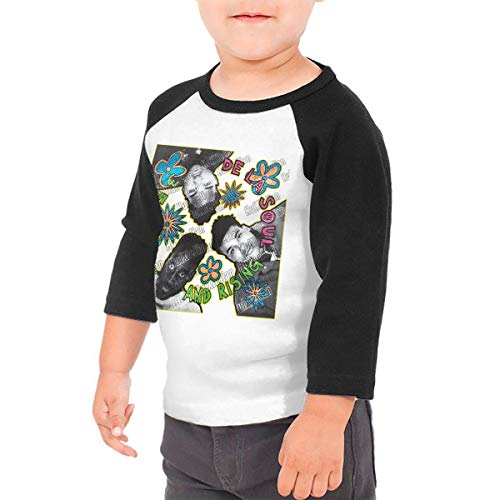 HuiXieJian De La Soul 3 Feet High & Rising Kids 3/4 Sleeve Raglan Baseball Tshirts for Girls & Boys Black 4T
