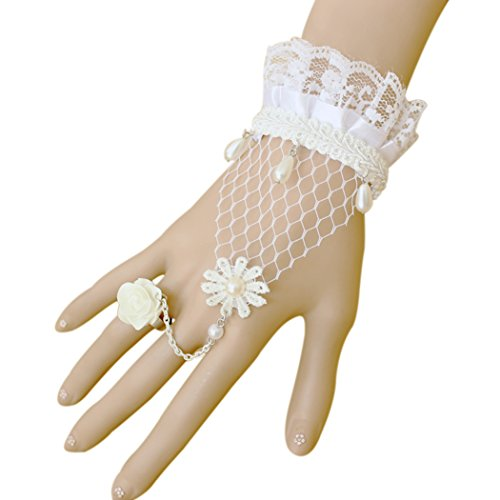 Costume Tampon Halloween (Time Pawnshop White Lace Rose Pearl Ring Adjustable Wrap)