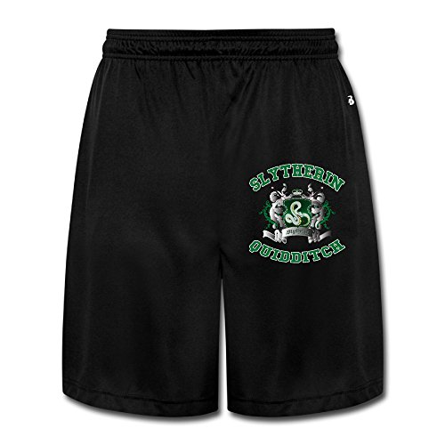 AOLM Mens Performance Shorts Sweatpants Trousers Slytherin Quidditch Black XXL.