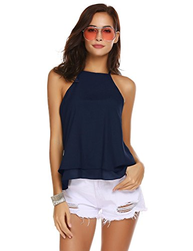 - Pinspark Womens Summer Sleeveless A-Line Halter Neck Blouse Flowy Chiffon Tank Top Navy Blue Large