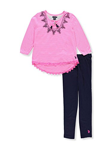 U.S. Polo Assn. Big Girls' Fashion Top and Legging Set, Embro Neck Peasant Top Lycra Jersey Legging Multi, 10 by U.S. Polo Assn.