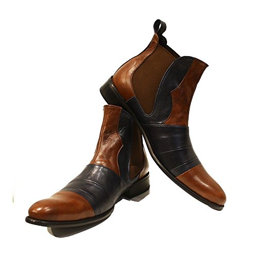 Modello Ritorto - 10 US - Handmade Italian Mens Brown Ankle Chelsea Boots - Cowhide Smooth Leather - (Italian Handmade Brown Leather Boots)