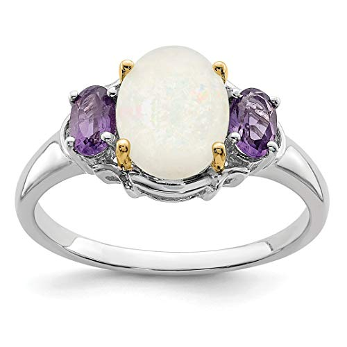 - 925 Sterling Silver 14k Opal Purple Amethyst Band Ring Size 7.00 Stone Gemstone Fine Jewelry For Women Gift Set