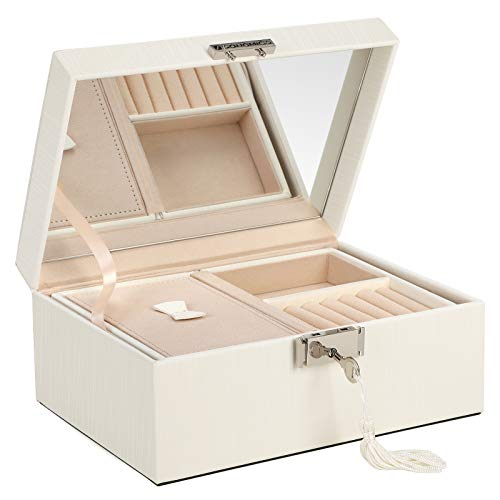 SONGMICS 2-Layer Jewelry Box, Lockable Jewelry Organizer, with Foldable Tray, Removable Divider, Thickened Frame, Gift for Loved Ones, Ivory White UJBC232WT