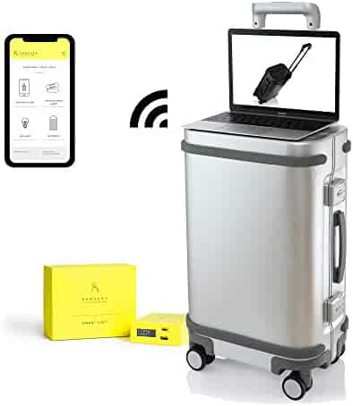 855f98c75 Smart Aluminum Luggage Carry On with USB and App 20 Suitcase TSA Lock Silver