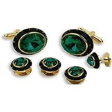 Dark Emerald Stone Center Black Austrian Crystal Tuxedo Studs and Cufflinks Gold Trim