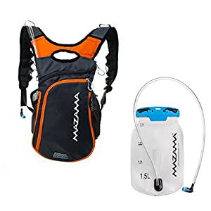 Mazama Koosah Hydration Pack with BPA Free 1.5 liter Bladder - (Also fits 2L) Lightweight & Designed for Activity - Gray
