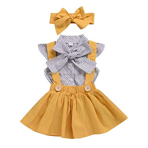 Toddler Baby Girl Yellow Suspenders Skirt Polka Dot Ruffle Sleeve Tops Bowtie Outfits (70, Yellow1) -