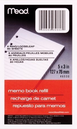 Mead 6-Ring Memo Book Refill Paper (MEA46530), White Narrow Rule, 3 x 5, 80 Sheets/Pack - 3 PACKS