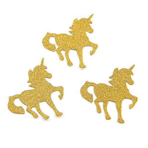 Sala-Tecco - 50PCS Glitter Paper Stickers Gold Horse&Flamingo Confetti DIY Scrapbooking Home Decor Birthday/Wedding Party Decoration ()