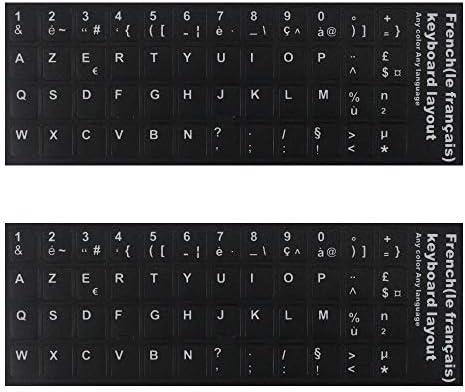 Pegatinas para Teclado, Fondo Negro con Letras Blancas de Repuesto para Ordenador portátil, Ordenador portátil, Escritorio, 2 Unidades, Color Negro