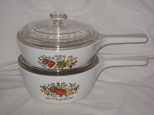 (4 PIECE SET - Vintage Corning Spice O' Life 1 Pint & 1.5 Pint Menuette Sauce Pan w/ Clear Glass Lid)
