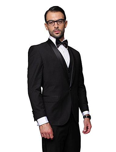 TUX-SH BLACK Statement 3PC MEN'S SUIT. TUXEDO - Super 150's Mens Italian Suits