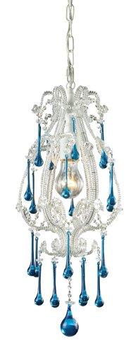 Elk 12003/1AQ Opulence 1-Light Pendant In Antique White And Aqua Crystals