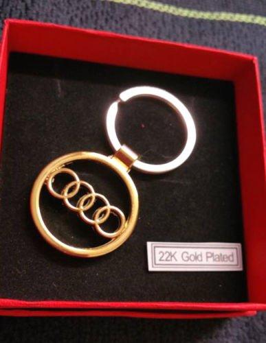 22 K AUDI llavero de METAL chapado en oro 3D AUDI placa ...