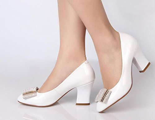 Fashionable 5Cm And Leather Heel Shoe 6 High Female New Style White nine Drill Spring Summer KHSKX Water Single Thirty pqxX7w