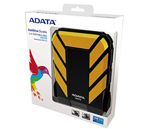 ADATA HD710 1TB USB 3.0 Waterproof/Dustproof/Shock-Resistant External Hard Drive, Yellow (AHD710-1TU3-CYL)