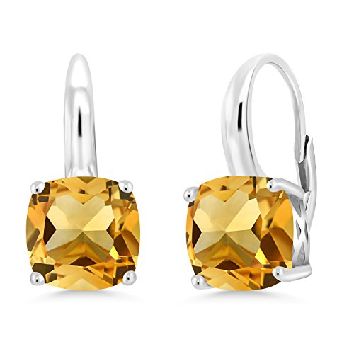 Gem Stone King 6.00 Ct Cushion Yellow Citrine 925 Sterling Silver Earrings