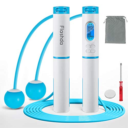Flashda Jump Rope, Digital Counting Speed Jump Rope for Home and Outdoor, with Calorie Counter, Exercise Cordless Ball, Fitness Training Adjustable Weighted Jump Rope for Men,Women, Kids (Blue)