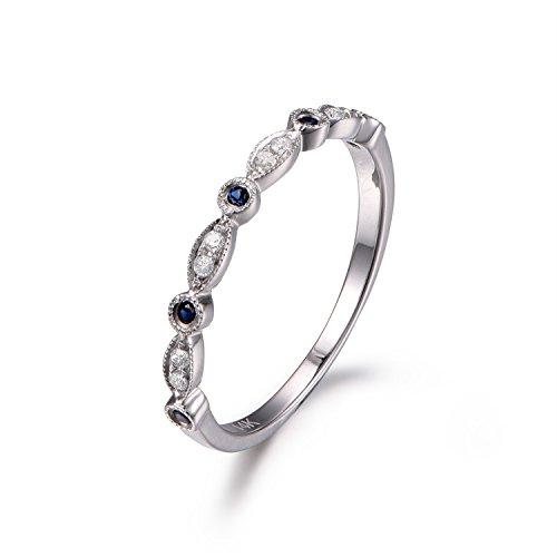 Eternity Band Half Bezel (Sapphire Diamond Wedding Band,Half Eternity,Bezel Set Ring,Milgrain,Art Deco Wedding Ring,14K White Gold)