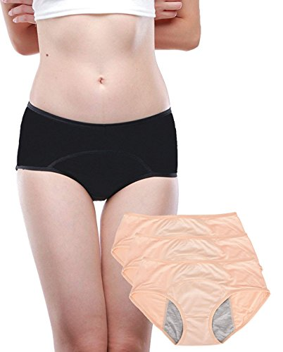 Leak Proof Protective Panties for Women Menstrual Period/Girls Heavy Flow/Postpartum Bleeding/Urinary Incontinence (Pack of 3) (Apricot, L / 28-31 Waist)