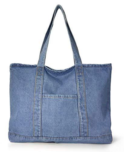 (Hoxis Light Weight Soft Denim Tote Unisex Shopper Shoulder Handbag (Blue))