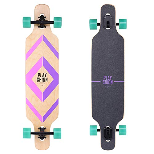 Playshion 39 Inch Drop Through Freestyle Longboard Skateboard Cruiser Purple