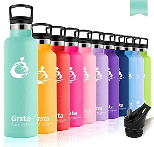 - Grsta Water Bottle With Straw & Filte,12/17/21/26oz Double Wall Vacuum Insulated Stainless Steel Leak Proof Metal Water Bottle for Kids,Men & Women Outdoor Sports(331 C-Blue green,750ml/26oz)
