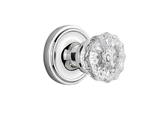 Nostalgic Warehouse Classic Rosette with Crystal Glass Door Knob, Double Dummy, Bright Chrome ()