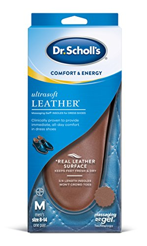Dr. Scholl's Ultrasoft Leather Insoles for Dress Shoes (Men's 8-14) // All-Day Comfort with Massaging Gel plus a Real Leather Surface