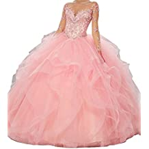 Ruisha Women Beaded Crystal Long Sleeves Tulle Ball Gown Sweet 15 Quinceanera Dresses RS0016