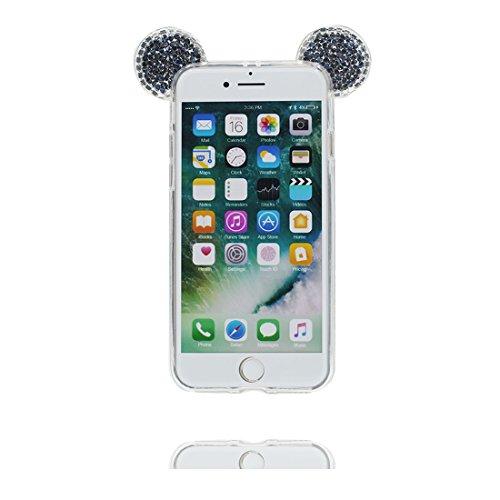"""Hülle iPhone 7 Cover 3D Cartoon Maus Ohr, Light Slim Diamonds Bling Bead Transparent iPhone 7 Handyhülle iPhone 7 case 4.7"""" Kratzer beständig und Ring Ständer"""