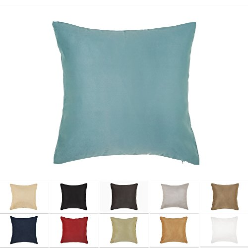 DreamHome 18 X 18 Inches Aqua Color Faux Suede Decorative Pillow Cover, Throw Pillow Case with Hidden Zipper, Super Soft Faux Suede On Both Sides (Aqua And Pillows Red)