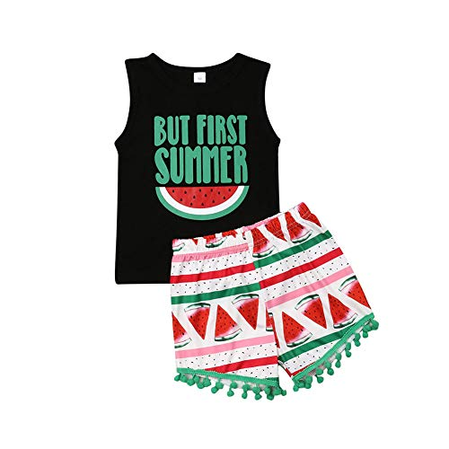 Young U Toddler Girl Summer Clothes Letter Print Vest Tops Tassels Shorts 2pcs Baby Girl Outfit Suit (Watermelon Print, 2T / 3T) -