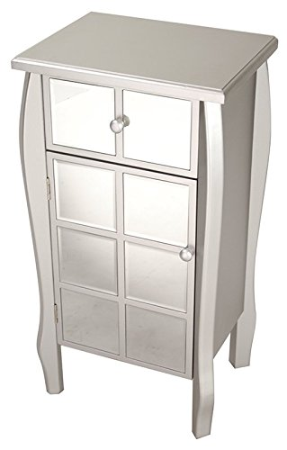 Heather Ann Creations Bombe Style Single Drawer Accent Cabinet/Console with Front Square Panel Mirrored Accents, 32.7'' x 17.3'', Silver