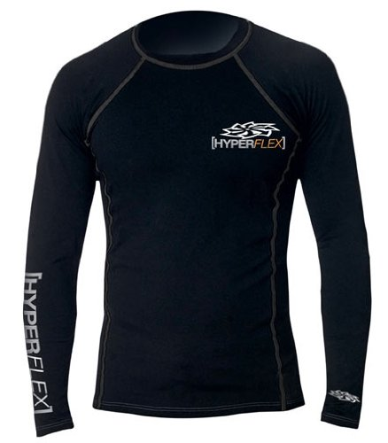 Hyperflex Wetsuits Men's Polyolefin L/S Rash Guard, Black, X-Small - Surfing, Windsurfing & - Wetsuits For Triathletes