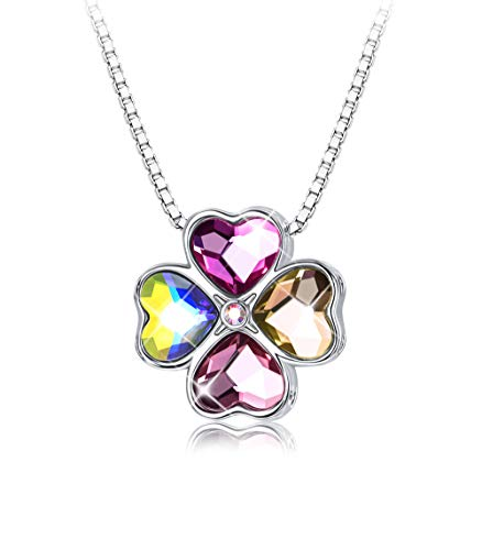 Sllaiss Four Leaf Clover Necklace with Swarovski Heart Crystals, Color Mixing Pendant Lucky Jewelry Gift for Women Girls (Crystal Lucky Clover Necklace)