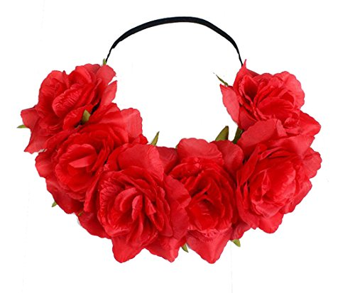 Floral Fall Rose Holiday Christmas Crown Festival Headbands Hippie Flower Headpiece F-53 (Red) -